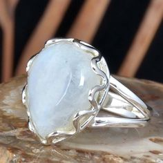 EXCLUSIVE 925 STERLING SILVER MOONSTONE FANTASTIC RING 4.75g DJR11442 SZ-8 #Handmade #Ring