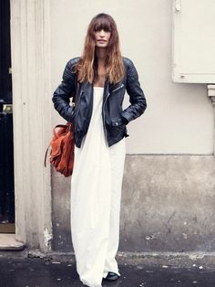 Maxi dress + leather jacket.