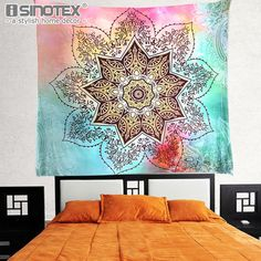 Home & Garden Modest Sea Wave Printed Mandala Tapestry Yoga Mat Wall Hanging Decoration Bedroom Living Room Table Couch Cover Beach Towel