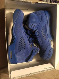 458e972f1b8 Nike Air Jordan V Retro 5 Blue Suede Game Royal/Black Size 8 #fashion