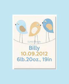 Birth Date Nursery Print, Baby Boy Nursery Print, Personalized Nursery Art, Blue Nursery Decor, Boy Nursery Decor, Birds, Birth Details. $16.00, via Etsy.
