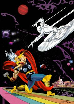 Thor vs The Silver Surfer by Dan Avenell. A homage to the classic Marvel comic Silver Surfer issue by John Buscema. Marvel Comics Superheroes, Marvel Art, Spiderman Marvel, Dc Comics, Avengers, Artwork Prints, Poster Prints, Posters, Art Of Dan