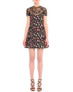 Lace-Inset Floral-Print Babydoll Dress by Valentino at Neiman Marcus. $4690