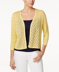 Charter Club Petite Diamond-Stitch Open-Front Cardigan, Only at Macy's - Yellow P/XL