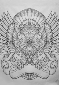 """objective:to create illustration with """"Garuda"""" as the theme.challenge:Garuda is the emblem of Indonesia, and because there are legends about garuda in Indonesia, I want to make this garuda illustrated as the one in the legend. Thai Tattoo, Maori Tattoos, Tribal Tattoos, Barong, Thai Art, Tattoo Stencils, Tattoo Sketches, Chest Tattoo, Tattoo Inspiration"""