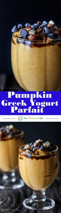 5-Minute Pumpkin Greek Yogurt Parfait | The Mediterranean Dish. Pumpkin puree, Greek yogurt, a little mascarpone with brown sugar, molasses! Top with chocolate chips and your favorite nuts! The perfect gluten-free Thanksgiving treat...but if you ask me, I'll have this for breakfast any day!