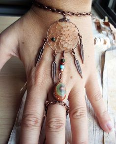 Bohemian Dreamcatcher Slave Bracelet Boho Hippie Stone Tribal Gypsy Copper Twilight Dream Catcher Native American Inspired. $28.99, via Etsy.
