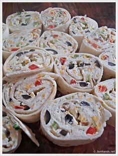 Party Pinwheels-i like this except for the black olives, i would try black beans instead.