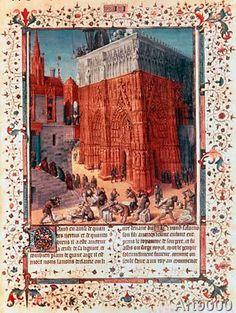 Jean Fouquet - Building of Temple of Solomon / Fouquet