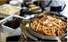 Yummy...Waffle Bar with lots of toppings...cute idea for brunches! :)
