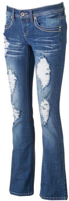 Juniors' Hydraulic Fleur De Lis Ripped Bootcut Jeans