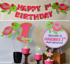 Girl Turtle Birthday Turtle Baby Shower Under by bcpaperdesigns, $8.00