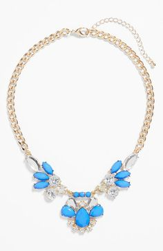 Such a pretty blue and clear crystal necklace.