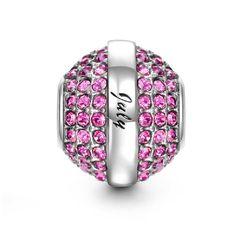 (For Ruth)...Soufeel July Birthstone Rose Red Swarovski Crystal Charm 925 Sterling Silver Bead Fit Pandora Bracelet