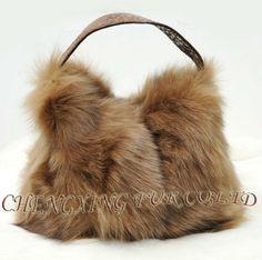 Cx-h-23 genuino de piel de zorro señora bolso de mano ~ ~ bolsa de envío de la gota