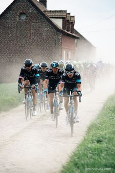 Paris Roubaix, team sky. 2014. I remember watching this Paris-Roubaix -- truly the Hell of the North.