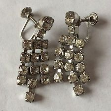 White color round faceted rhinestones prong set dangling ear clips Lot 142