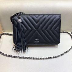 36413be2dfe92 Chanel Calfskin Wallet On Chain WOC Bag A84444 Black 2018