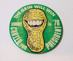 Vtg Jimmy Carter Presidential Campaign Pin Back Button Grin Will Win 1976 Peanut