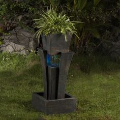 Resin/Fiberglass Tiered Raining Fountain with LED Light