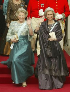 Queen Beatrix of the Netherlands and Queen Sofia of Spain leave Copenhagen Cathedral after the wedding ceremony; wedding of Crown Prince Frederik of Denmark and ms. Mary Donaldson, May 14th 2004