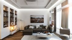 Neutral Home Design as Living Room Interior Decorated Among Modern Sofa Furniture Also Used White Wall Shelving Ideas Design as Inspiration