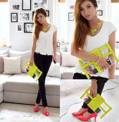 Stylowebuty.Pl Neon Clear Studded Clutch, H Neon Raspberry Heels, Stylowebuty.Pl Neon Yellow Necklace, Stylowebuty.Pl Metallic Gold Belt, Mango Black Jeans, H Basic V Neck T Shirt style fashion blog lookbook