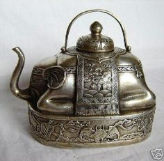 Wish list: Tibetan Silver Elephant Teapot. Argent Antique, Antique Silver, Vintage Silver, Elephant Teapot, Objets Antiques, Garden Parties, Teapots And Cups, Tea Art, Vintage Tea