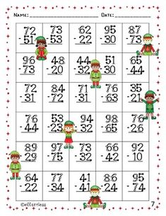 Christmas Touch Math: Double Digit Addition With Regrouping Math Practice Worksheets, Kindergarten Math Worksheets, Math Activities, Math For Kids, Fun Math, Math Doubles, Touch Math, Math Pages, Math Subtraction