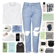 """""""wanna see us."""" by maheroo ❤ liked on Polyvore featuring Topshop, Monki, Chanel, H&M, Gorgeous Cosmetics, Mansur Gavriel, Casetify, Estée Lauder, NIKE and Orca"""