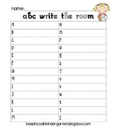 Write the room - first day of school activity