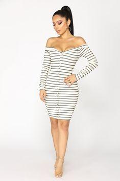 Stripe That Down Midi Dress - Ivory/Black