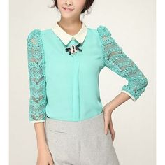 Women fashion lace shiffon blouse #fashiondrop