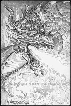 """Fire Dragon """"Gathering"""" 2 of 4 by ed Beard Jr Dragon Fantasy Myth Mythical Mystical Legend Dragons Wings Sword Sorcery Magic Coloring pages colouring adult detailed advanced printable Kleuren voor volwassenen coloriage pour adulte anti-stress kleurplaat voor volwassenen Line Art Black and White"""