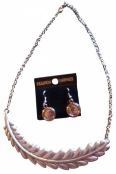 Silver Leaf Bib With Matching Pounded Silver Orb Earrings Nib Jewelry $12
