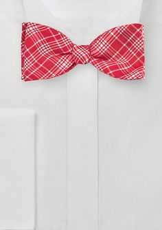 """Say """"I love you"""" with the perfect bow tie this Valentine's Day, like this Contemporary Plaid Bow Tie in Bright Red for $29.90   Cheap-Neckties.com"""