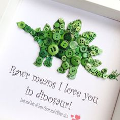 This dinosaur button picture makes the perfect keepsake for any little boy or girl. The quote Rawr means I love you in dinosaur can be altered to a quote of your choice. Any personalisations such as childs name, DOB etc can be added in at no extra cost. If you are looking for a different dinosaur such as a tricerotops then please include this in your order. You can determine your own button colours and I am happy to incorporate any special requests you may have, (providing there is room to…