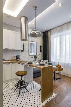 30 Latest Small Apartment Kitchen Decor Ideas To Copy - Decoration Tips Modern Small Apartment Design, Small Loft Apartments, Small Apartment Kitchen, Design Apartment, Apartment Layout, Small Apartment Decorating, Apartment Living, Studio Apartments, Bedroom Apartment