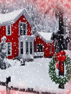 the wreath - Winter & Christmas - Holiday Christmas Scenes, Noel Christmas, Vintage Christmas Cards, Country Christmas, Christmas Pictures, Winter Christmas, Winter Snow, Xmas, Christmas Greetings