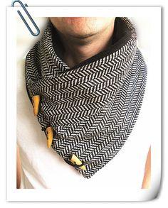 Men's cowl collar scarf- black and white herringbone wool-Men's scarf-fleece lined.