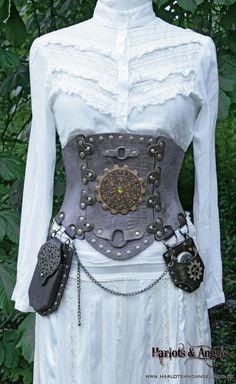 "27"" - 29"" waist New Steampunk / Pirate / Larp  Real Leather Corset Utility belt."