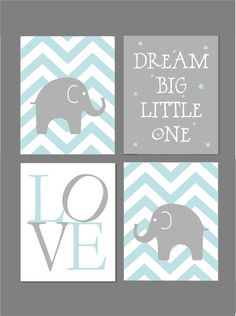 Pale Blue and Grey Nursery Elephant Nursery by fairplayprintables