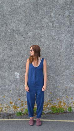 The LEDA Jumpsuit: Navy Blue Linen