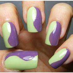 Manicure - green and purple nail polish
