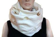 Ruffle White Handmade felted shawl scarf wrap Ready to by ProninA
