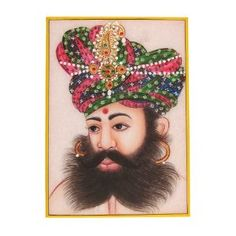 Arts From India Embossed Miniature Painting On Marble Plate Of The Indian Maharaja With A Turban: Amazon.co.uk: Kitchen & Home