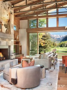 Neutral Mountain Living Room with Walnut Built-Ins | LuxeSource | Luxe Magazine - The Luxury Home Redefined