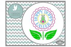 Hoppy Hoppy Easter Happy Easter with Bunny and Flower Cutting File LL109A  SVG DXF EPS AI JPG PNG from DesignBundles.net