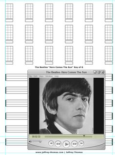 """On The Workbench: """"Here Comes The Sun"""" by The Beatles.  I am starting the ukulele tab for this classic tune!   Please let me know if you would like free tab updates and skype review: www.jeffrey-thomas.com"""