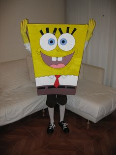 Spongebob Squarepants Halloween Costume, Spongebob Costume Diy, Diy Costumes, Halloween Costumes, Diy Painting, Diy For Kids, 2nd Birthday, Board, Flower